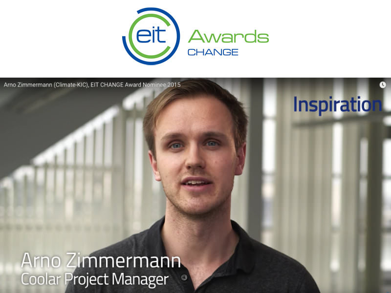 Coolar's Arno Zimmermann nominated for EIT Change Award 2015