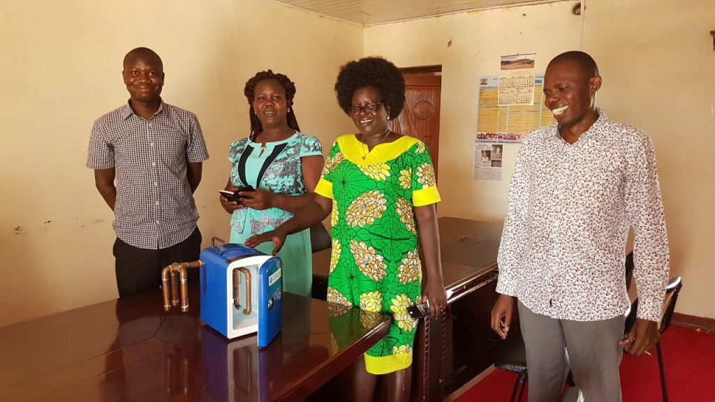 Coolar Mini-Demonstrator inspected by staff at a health facility in Turkana, Kenya; Feb. 2017.