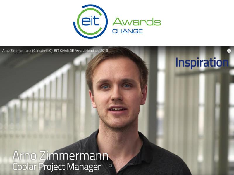 Coolar's Arno Zimmermann nominated for EIT Change Award 2015